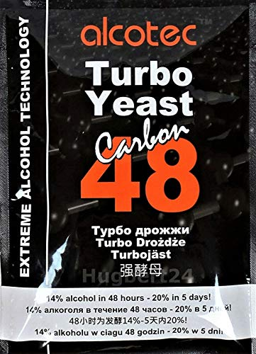 AlcoTec HUGBERT 48 Carbon Turbo, Alkohol, Gärhefe, Hefe, Schnaps, Brennhefe, Destillation, 3 Stück