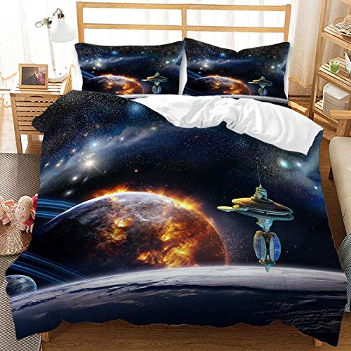 QXbecky Space Universe Astronaut 3D Digital Printing Bedding Soft Microfiber Quilt Cover Pillowcase 2, 3-Piece Set of Twin beds