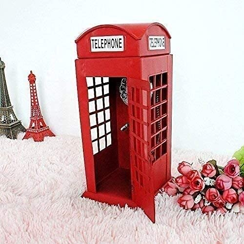 Teléfono antiguo Teléfono Estilo europeo Decoración de la joyería nostálgica Adornos de la joyería grande y la nueva cabina del teléfono de estilo británico tiene 1226 10 Tamaño de la decoración del e
