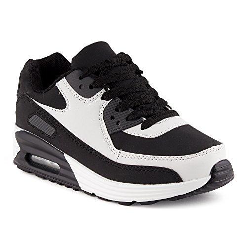 FiveSix Herren Damen Sportschuhe Dämpfung Sneaker Laufschuhe Schwarz/Weiss-W EU 38