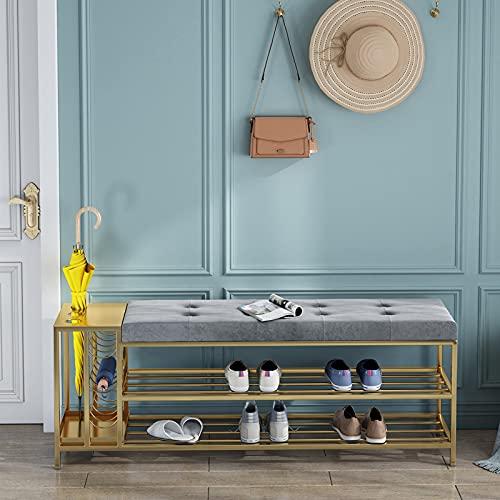 ZQQFR Banco Nordic con zapatero, banco para zapatos, taburete para zapatos, taburete para zapatos asiento abierto fácil colocar en el pasillo, para salón, pasillo, entrada (gris 2, 120 x 30 x 45 cm)