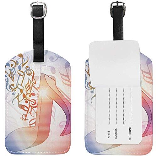 Acuarela Música Imprimir Cuero Equipaje Equipaje Maleta Etiqueta de identificación Etiqueta para Viajes (2 Piezas)
