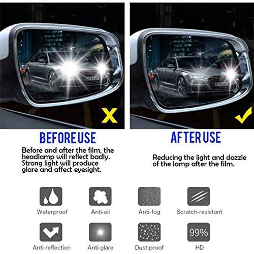 51EaKTi2soL - Freenavi Car Rearview Mirror Waterproof Film, Anti Fog Film Anti-Glare Anti Mist Anti-Scratch Waterproof Rainproof Rear View Mirror Window Clear Protective Film-2Pcs
