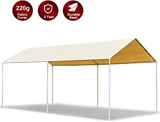 AECOJOY 10'X20' CarportHeavy DutyCar Port Canopy Tent Durable 220g Polyethylene Canopy Cover Party Tent Boat Shelter, Yellow