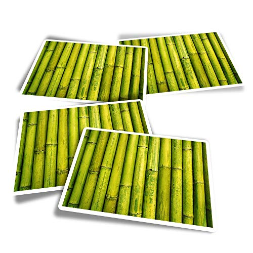Vinyl Rectangle Stickers (Set of 4) - Japanese Lucky Bamboo Fun Decals for Laptops,Tablets,Luggage,Scrap Booking,Fridges #3076