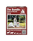 Underwood Horse Medicine Topical Wound Spray Kit - Animal Wound Care Solution - for Equine, Livestock, Pets, and Farm Animal use - 16oz Bottle, Baking Powder, Funnel, Shaker