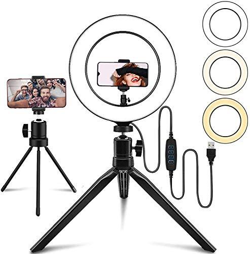 Anillo de Luz LED de 10 Pulgadas con 2 Trípode, Aro de Luz TIK Tok Regulables, Control Remoto Inalámbrico, 3 Colores y 10 Niveles de Brillo para Maquillaje, Selfie,Youtube(2 Soporte de Móvil)