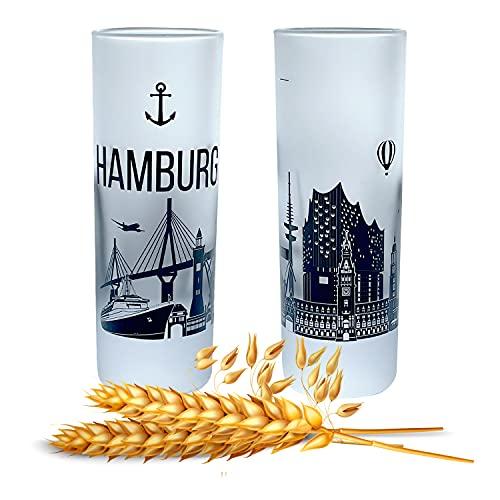 Premium Skyline Schnapsgläser | 2er Set | Gläser mit Gravur Skyline | Pinnchen bzw. Shotgläser für z.B Obstler, Tequila und Wodka. | Glas 6,5cl | Spülmaschinenfest | MADE IN GERMANY (Skyline Hamburg)