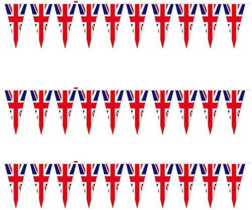 SHATCHI 70FT Union Jack 50 Triangle Bunting Plastic Olympics Great Britain Flag