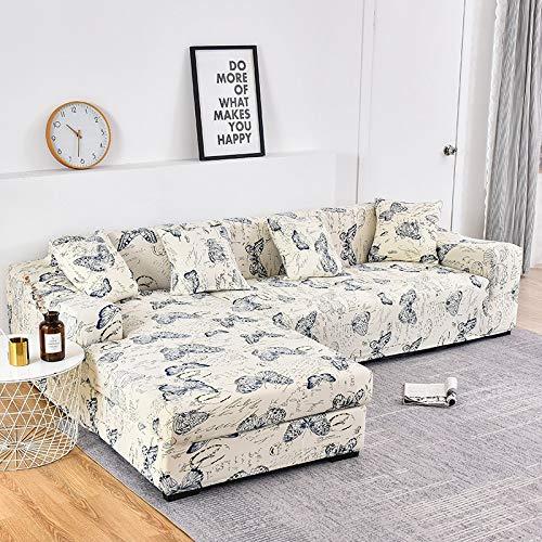 ASCV Beställ 2 stycken överdrag om den är L-formad soffa blommigt tryck sofföverdrag elastiskt sofföverdrag för vardagsrum A1 4-sits