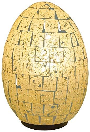 Guru-Shop Tischlampe/Tischleuchte Mojo, Handgemacht in Bali, Fiberglas mit Glasmosaik, Holz, 30x20x20 cm, Resinlights, Fiberglas Tisch-, Stehleuchten