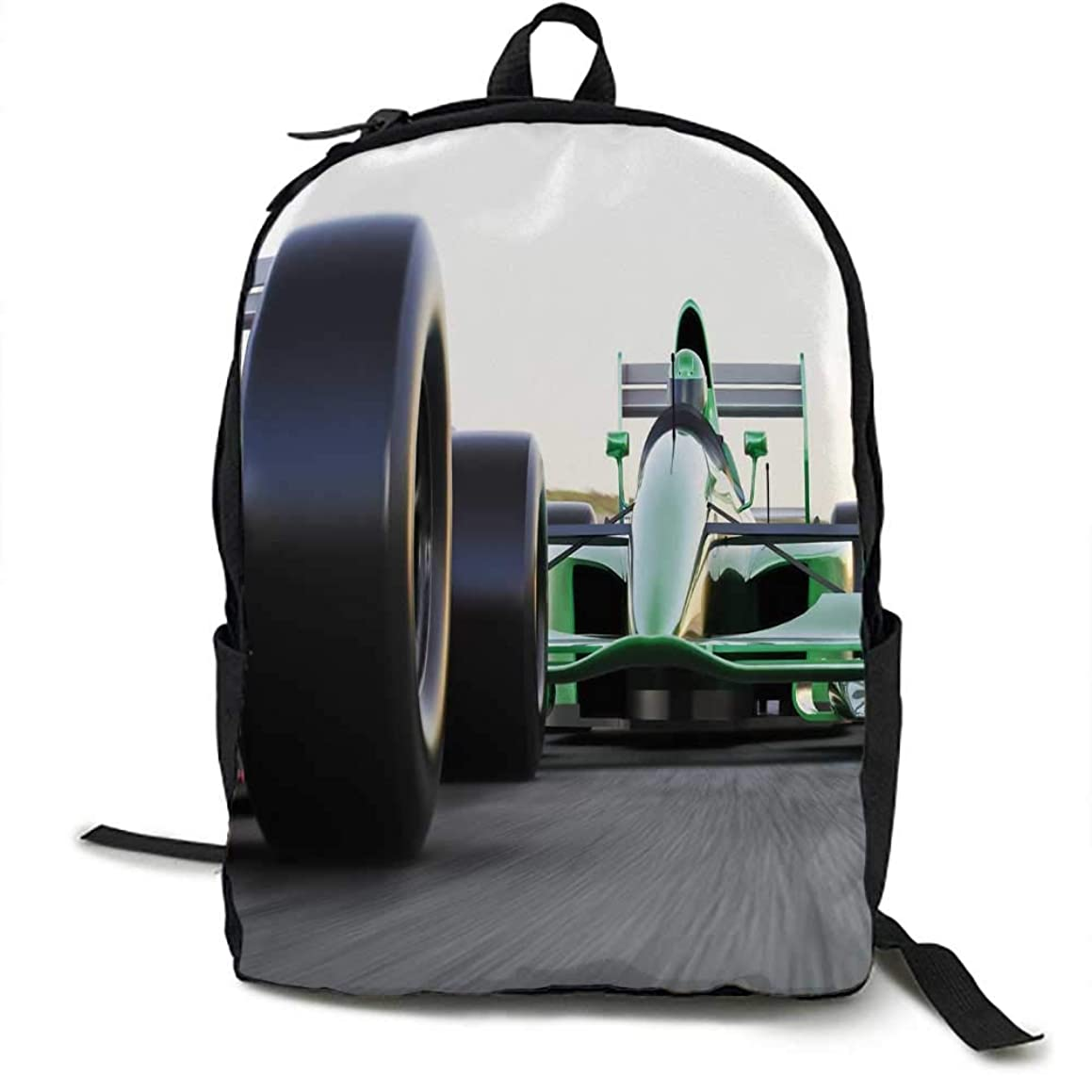 Cars Unisex classic backpack Motorized Sports Theme Indy Cars on Asphalt Road with Motion Blur Formula Race Suitable for 16-inch laptops 16.5 x 12.5 x 5.5 Inch Grey Black Green