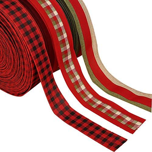 3 rollos de cinta de arpillera de Navidad con alambre, cinta roja de tela escocesa con borde con alambre para decoración de manualidades de Navidad, lazos florales y envoltura de regalo