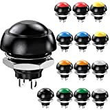 CLDIY Interruptor momentary Push Button Switch 12 mm Normal Open (NO) Mini microinterruptores ON-OFF 125 V 3 A 14 unidades (7 colores)