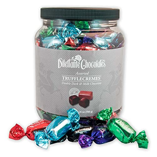 Assorted Chocolate TruffleCremes   28-ounce Jar   Covered in Premium Milk & Dark Chocolate   Made with All-Natural Ingredients   A Delicious Gift for Any Occasion   By Dilettante Chocolates