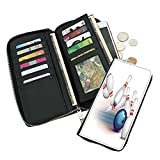 Fashion long wallet,Thrown Ball Scattered Pins Speed Hit Target Shot Score-Modern printing process,leather feel.Large capacity,mobile phone,ID card,cash,credit card.