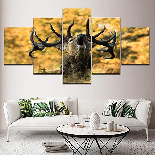 5 stuks Wall Art schilderij modulaire canvas schilderij herten schreeuwen wallpapers poster print voor woonkamer Home Decor — 40x60 40x80 40x100cm geen frame