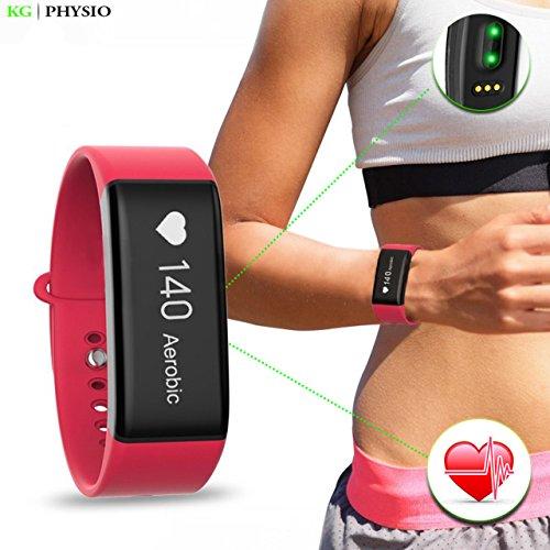 kg | Physio attività fitness tracker orologio con monitoraggio della frequenza cardiaca (HR) con touchscreen Bluetooth 4.0Smart Band per iPhone iOS e Android con libretto di istruzioni, Red