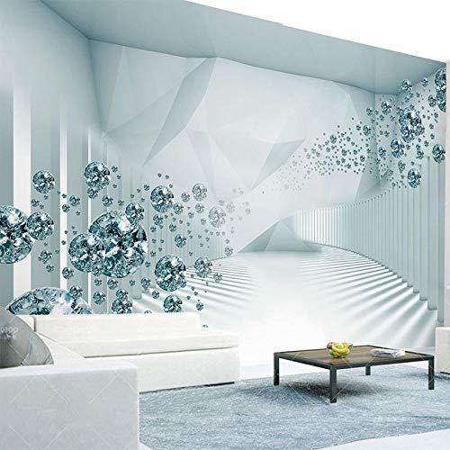 XLXBH behang zelfklevend 3D-behang Moderne 3D-ruimte mode glazen bol Foto schilderij woonkamer sofa 3D wand kinderkamer kantoor eetkamer woonkamer decoratie muur kunst 300x210 cm (WxH) 6 rayas - autoadhesivas