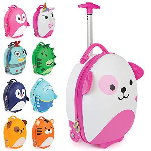 boppi Tiny Trekker Maleta Trolley Infantil Equipaje Cabina 2 Ruedas - 17 litros - Perro Rosa
