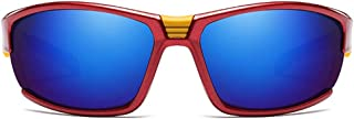 Fashion Colorful Red/Blue Frame Blue Lens Men and Women with The Same Paragraph Polarized Sandstorm Sunglasses Outdoor Sports Riding Metal Material Sunglasses Retro (Color : Red)