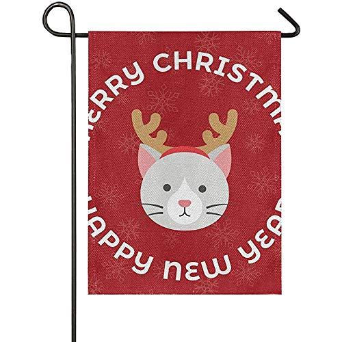 KL Decor Vlag Banner, Kerstmis Tuin Vlag Kat Draag Rendier Haarband Kerstmis Nieuwjaar Eye-Catching Huis Vlag Banners Voor Welkom Decoratie