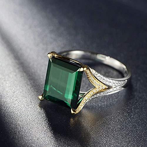 Adisaer Ring for Her Ring Women 18K Rectangular Natural Green Tourmaline 6.15ct 18K White Gold Ring Wedding Bands Silver Green Gold Size 11