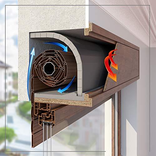 Set mit 1 m Zugluft- und Lärmschutzstop, Wärmeisolierung für Jalousienkasten einrollbar