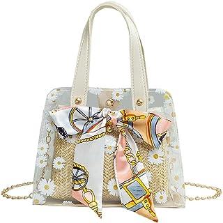 SXFTYU Mode Stroh Damen Handtasche Transparente Verbundtasche Frauen Schulter Messenger Bag