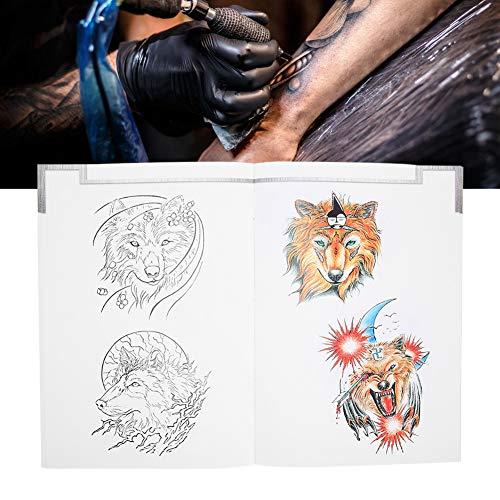 Ensemble de modèles de tatouage, 72 pages motif de loup livre de tatouage tatouage pratique Shader Liner modèle livre accessoire tatouages pochoirs pour artiste de tatouage