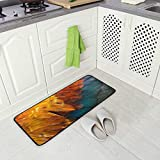 Chicken Rooster Feather Kitchen Floor Mat, Non-Slip Comfort Office Standing Cushioned Rug Home Decor Indoor Outdoor, 39' x 20'