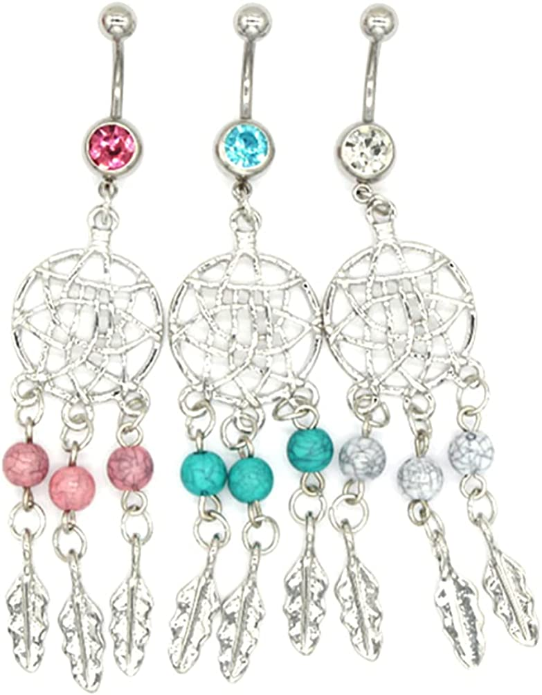 OULII Belly Button Ring Dream Catcher Belly Piercing Stud for Body Decoration Pack 3pcs Random Color