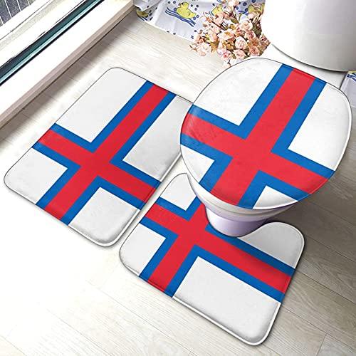 DJNGN Färöer Flagge Bad Antirutsch-Set 3-teilige Antirutsch-Pads Bad Dusche Badezimmer-Matten-Set Maschinenwaschbare Matte + Kontur + Toilettendeckel-Abdeckung