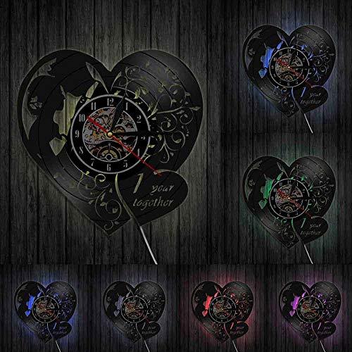 KFSG Disco de Vinilo Reloj de Pared Marido Esposa Decoración de Pared Idea de Regalo de Boda de San Valentín