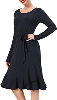 Womens Ruffle Dress Knee Length Long Sleeve Modest Work Casual Dresses with Pocket
