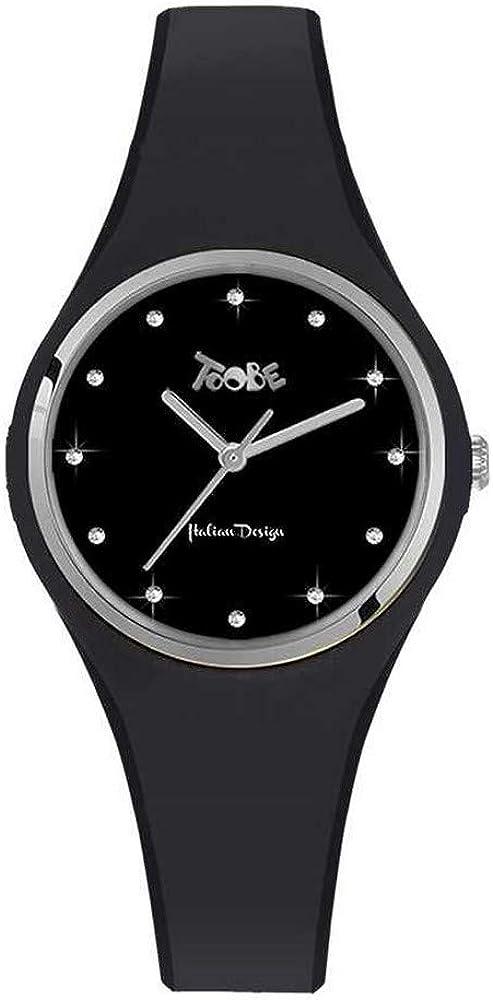 Boccadamo, orologio per donna,in silicone anallergico nero ed indici in swarovski,la cassa È in metallo VG021
