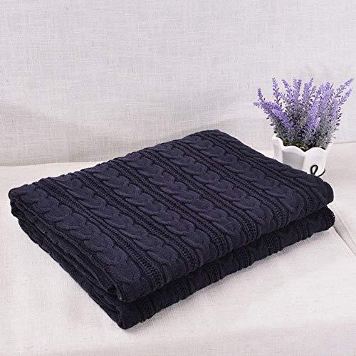 SELLA Baumwolle handgefertigte weiche Strickdecke Bettdecke beige, rot, braun, blau weiß, grau, rosa Strick Sofadecke, dunkelblau, 180x200CM