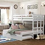 Giantex Twin Over Pull-Out Bunk Bed with Trundle, Solid Wood Bunk Bed with Ladder, Extendable Twin/Full/Queen/King Beds with Safety Rail, Bunk Beds for Kids Teens (White)