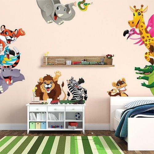 R00256 Stickers muraux Effet Tissu Doux décoration Murale bébé Nouveau-né pépinière Chambre Maternelle Papier Peint adhésif - Animaux Savane Zoo