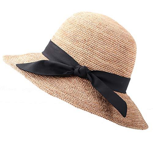 RIONA Damen Sommer Handgewebte Faltbare Wide Brim Fischer 100% Bast Straw Sonnenhut einheitsgröße c002_beige