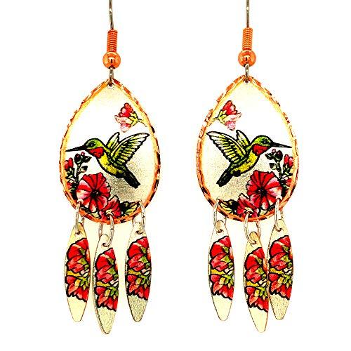 Once pendientes de colibrí/pendientes de libélula/par de pendientes de flamenco/loros/cola de golondrina/monarca hechos de joyería de cobre plateado