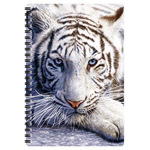 3D LiveLife Libreta A5 - Reposo del tigre blanco de Deluxebase. 80 páginas de bloc de notas lenticular 3D de tigres blancos e ilustraciones con licencia del reconocido artista David Penfound