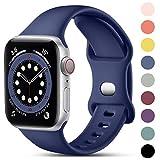 CeMiKa Compatible con Apple Watch Correa 38mm 42mm 40mm 44mm, Deportivas de Silicona Correas de Repuesto Compatible con iWatch SE Series 6 5 4 3 2 1, 42mm/44mm-S/M, Azul