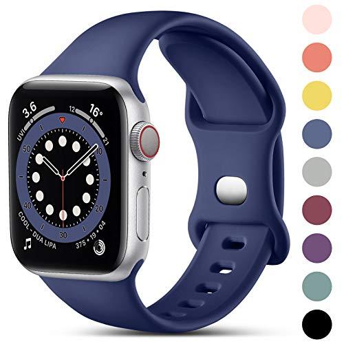 CeMiKa Compatible con Apple Watch Correa 38mm 40mm 41mm 42mm 44mm 45mm, Deportivas de Silicona Correas Compatible con iWatch Correa SE Series 7 6 5 4 3 2 1, 42mm/44mm/45mm-M/L, Azul