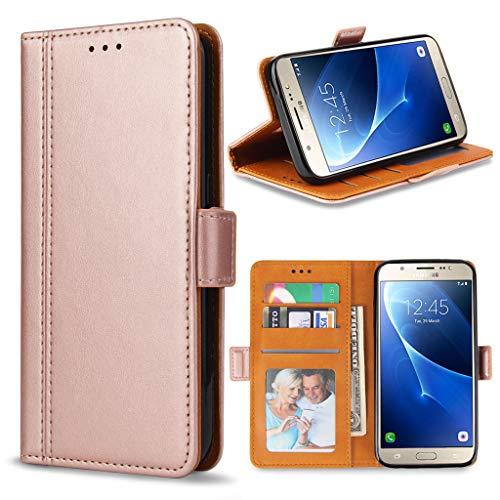 Bozon Galaxy J5 2016 Hülle, Leder Tasche Handyhülle Schutzhülle für Samsung Galaxy J5 (2016) Flip Wallet mit Ständer und Kartenfächer/Magnetverschluss (Rose Gold)