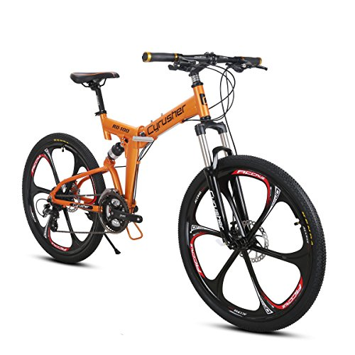 Extrbici VTT Pliant 26' RD100 Vélo Pliable de Montagne en Alliage d'Aluminium avec Suspenion Complète & Freins à disques & 24 Vitesses Shimano M310 Altus Vélo Ordinaire