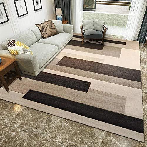 Zhao Li vloerbedekking antislip vloer ontwerp zachte tapijten moderne woonkamer geometrische brede streep bruin indoor matten tapijten