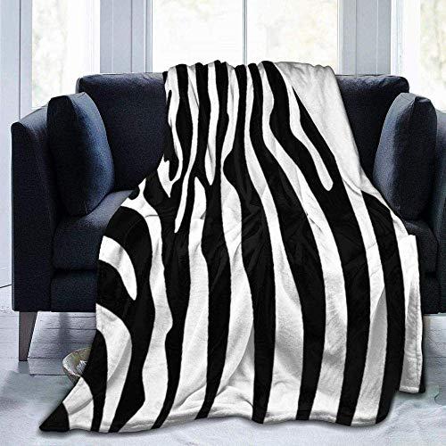 Manta de forro polar con estampado de rayas de cebra blancas y negras y ligeras, supersuaves, cálidas, cómodas, para sofá, silla, 156,4 x 150 cm