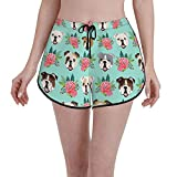 Inaayayi Pantalones cortos de la tabla Inglés Bulldog Caras Vintage Florales Lindas Flores Mujer Traje de baño Casual Trunks Verano de secado rápido con cordón Deportes Swim Shorts