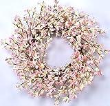 Huashen Valentine's Day Pink Forsythia Door Wreath for Rustic Wedding Farmhouse Front Door Decor Spring&Summer Wreath 24 Inch